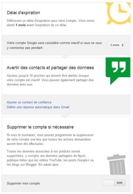 Configuration de la gestion de compte inactif Google