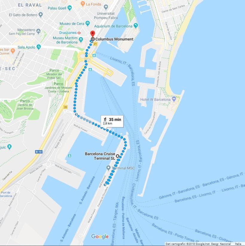Barcellona percorso pedonale Terminal Crociere - Monumento a Colombo