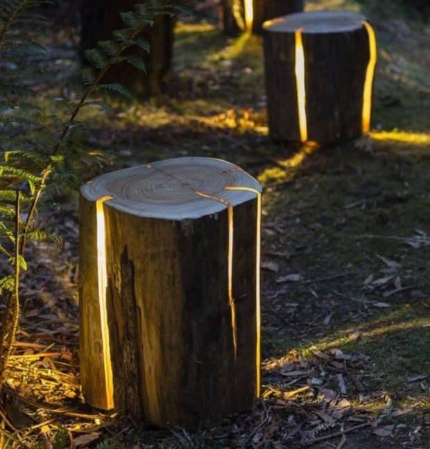 tronchi naturali che all'occorrenza si trasformano in punti luce