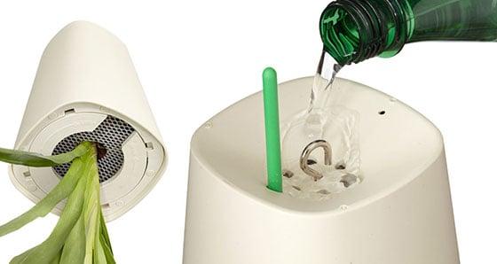 sistema di irrigazione già incorporato all'interno del vaso