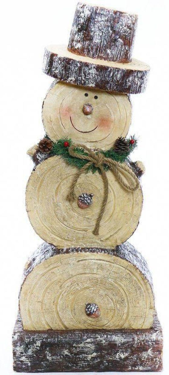 pupazzo di neve fai da te realizzato con il legno
