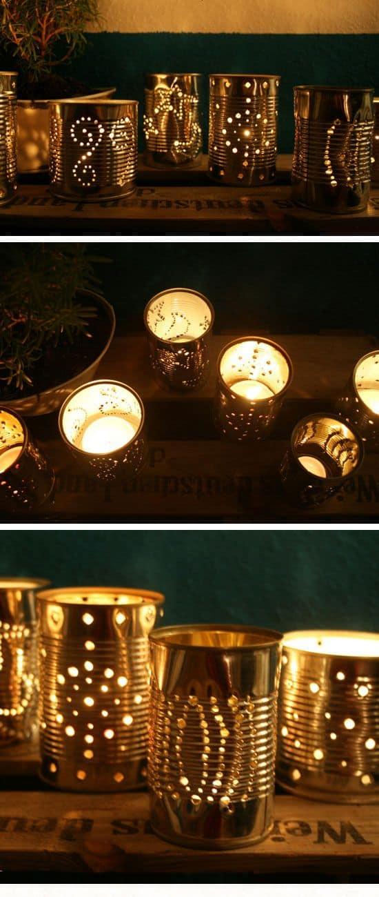 Un altro modo originale e creativo per decorare il giardino con le luci senza spendere una fortuna è quello di decorare i barattoli di latta