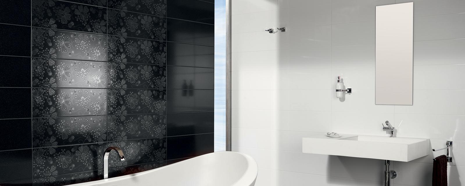 carrelage noir dans une salle de bains