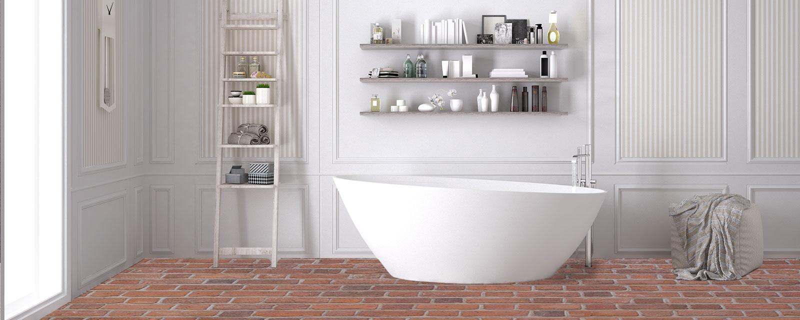 sol en brique pour votre salle de bains