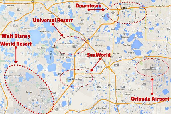 Kort over Orlando
