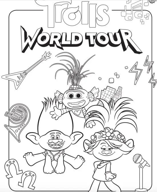 FREE Trolls World Tour Coloring Pages & Activities