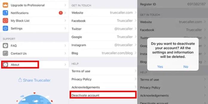 deactivate truecaller number