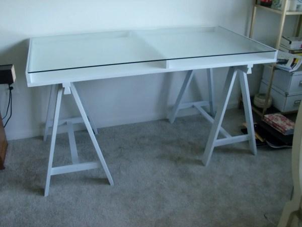 Glass Top Sawhorse Desk IKEA