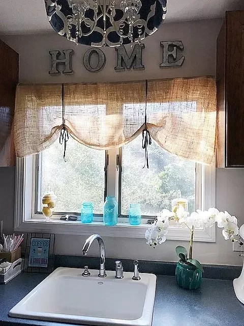 affordable kitchen curtains europa cabinets burlap valance: 16 unique diy patterns | guide