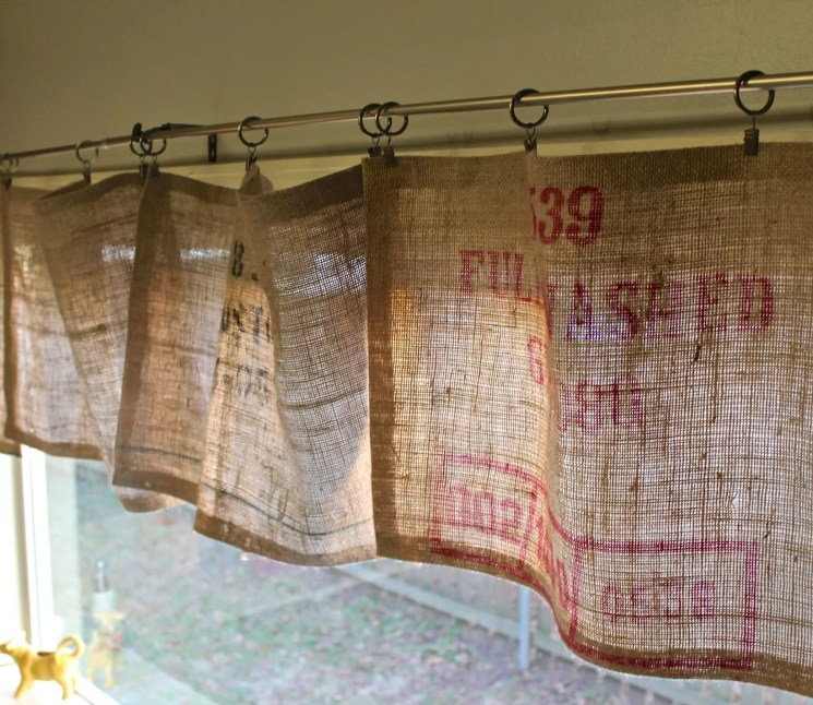 No Sew Burlap Curtain