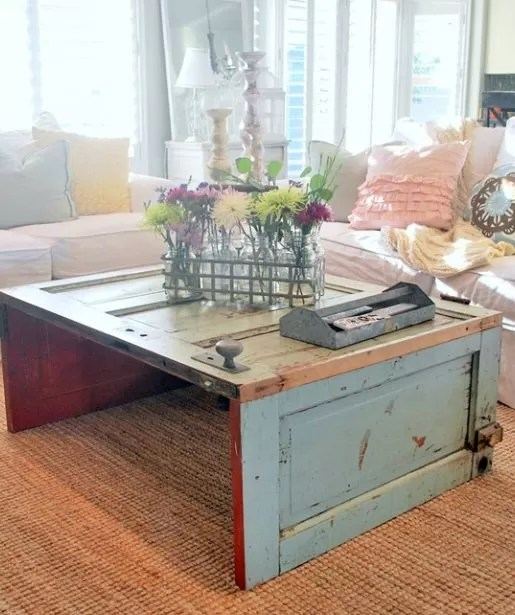 old metal chairs plastic chair covers bed bath and beyond 15+ diy coffee tables made from doors | guide patterns
