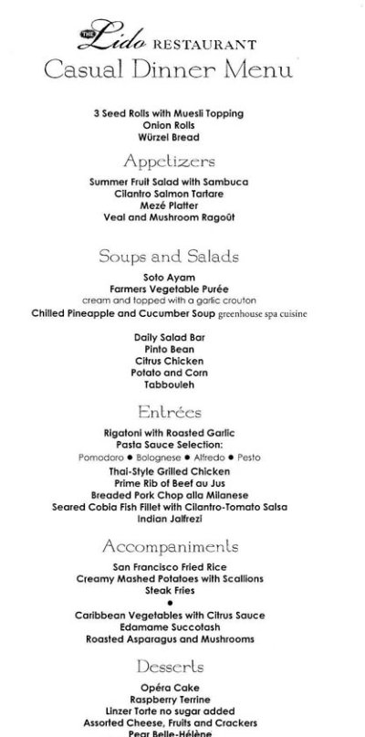 Holland America Lido Restaurant Dinner Menu
