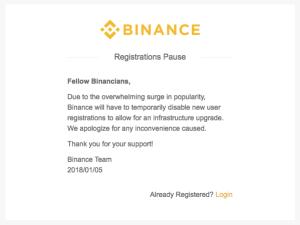 binance registration closed