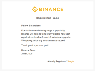binance registration closed