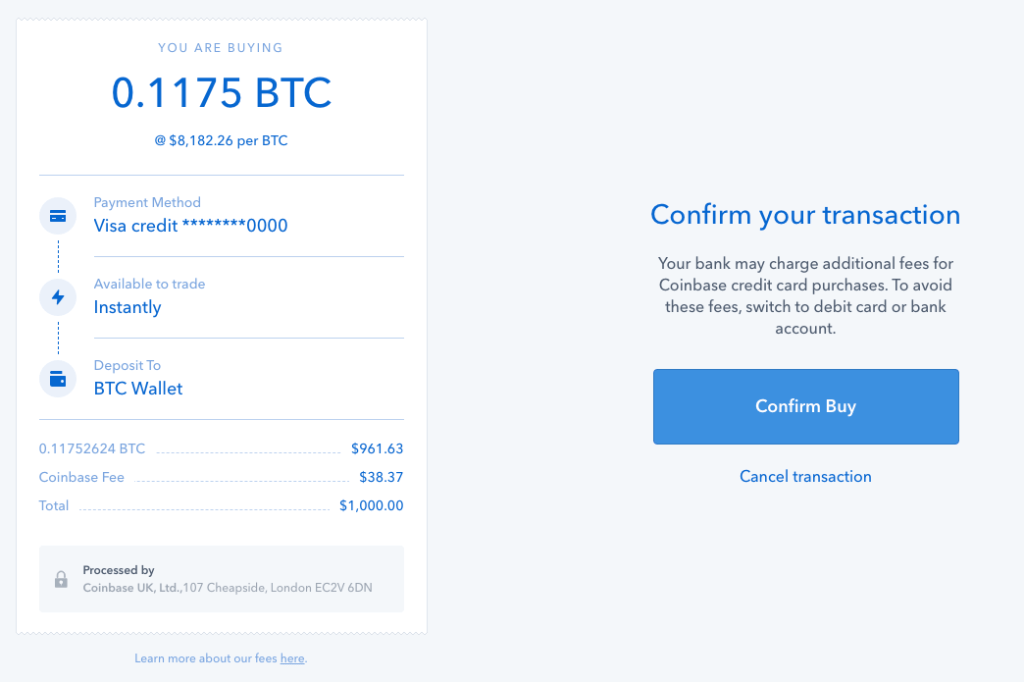 coinbase buy bitcoin confirmation