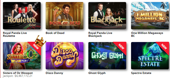 Popular Royal Panda Casino Games
