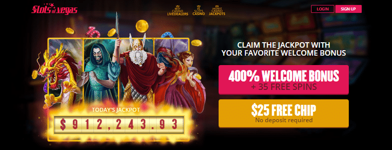 Get a $25 Free Chip + a 400% Welcome Bonus + 35 Free Spins at Slots of Vegas Casino