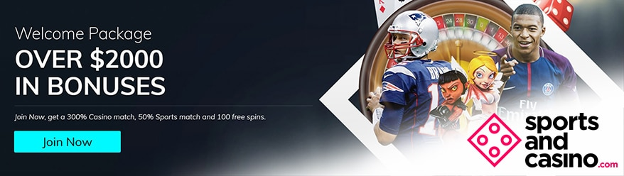 Get a $500 Welcome Bonus + 100 Free Spins at SportsandCasino