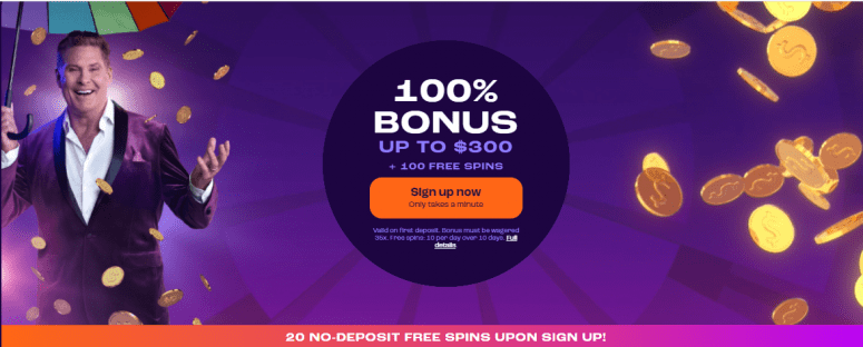 Get 20 Free Spins No Deposit + a 100% Welcome Bonus up to $300 + 100 Free Spins at Wheelz Casino