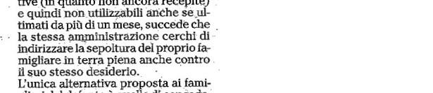 """Mori, una vergognosa gestione dei loculi"". Lettera aperta di Francesco Moscatelli"