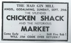 Press ad for the Gin Mill Club as reproduced in Nigel Enever's book Guildford The Rock 'n' Roll Years.