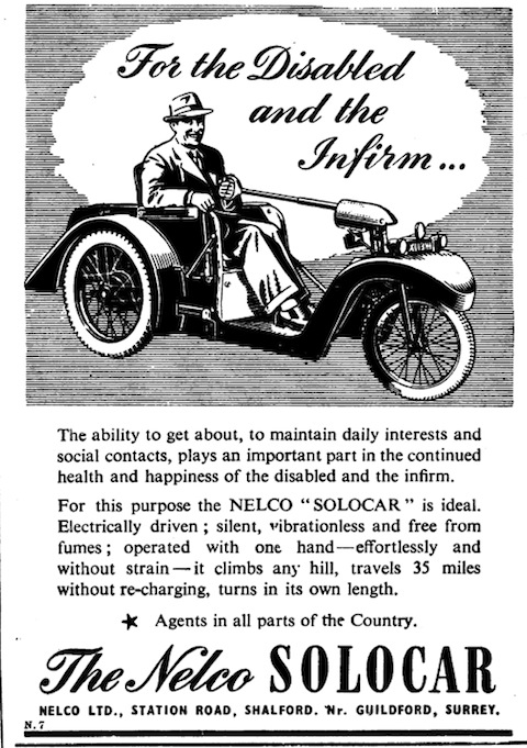 Advertisement from the British Medical Journal of 1950 for Nelco's Solocar.