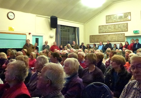 Standing room only as around 150 cram into Shere Village Hall to discuss the Local Plan consultation.