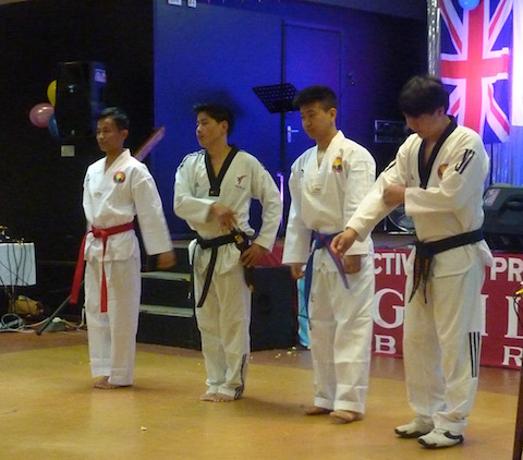 Members of the sports club taking part in one of their martial arts demonstrations.