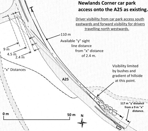 Visibility distances from and of Newlands Corner access. Click to enlarge in a new window.