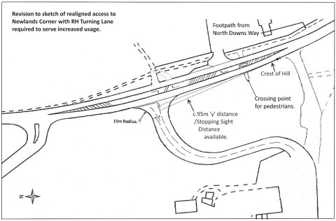 Revised sketch of Newlands Corner access and right-hand turn lane. Click to enlarge in a new window.
