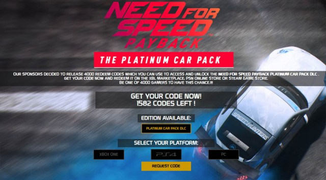 Need for Speed Payback Platinum Car Pack CodeGenerator