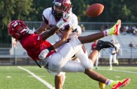 Hammond High School safety Paskell Cheeves knocks the football away from an Edmondson Red Storm receiver during a preseason scrimmage in Columbia Friday evening. Edmondson Westside High School defeated the Golden Bears 12-0.