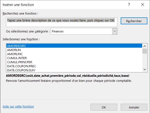 Menu Excel - Insérer Une Fonction