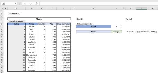 Excel RechercheV Exemple 5