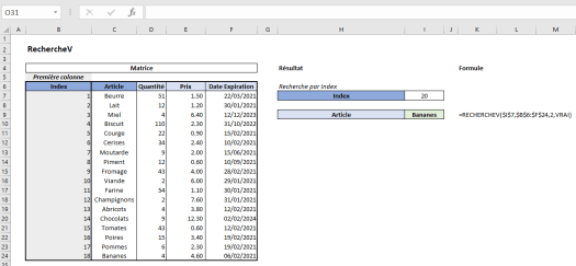 Excel RechercheV Exemple 7