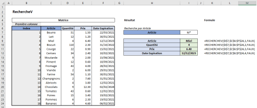 Excel RechercheV Exemple 9