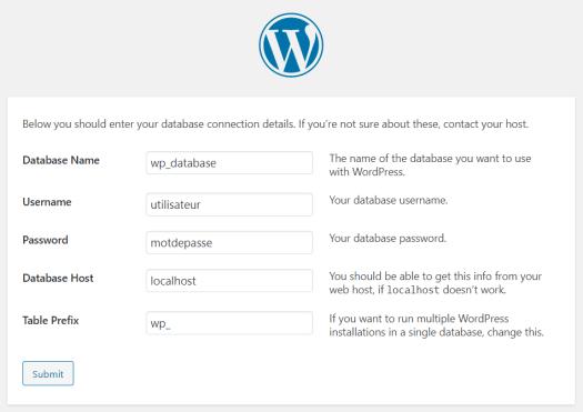 Configuration WordPress - Base de données