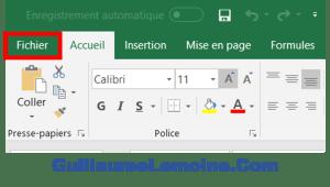 Excel Menu Fichier