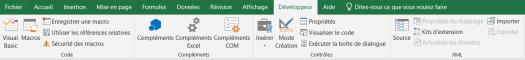 L'onglet Developpeur du Ruban Excel