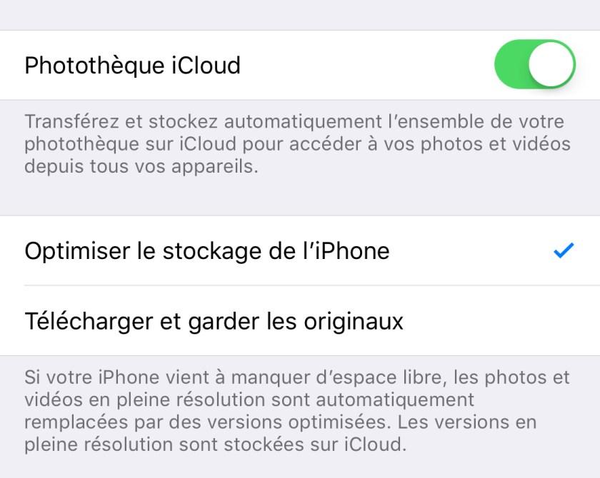 Photothèque iCloud - Optimiser le stockage de l'iPhone