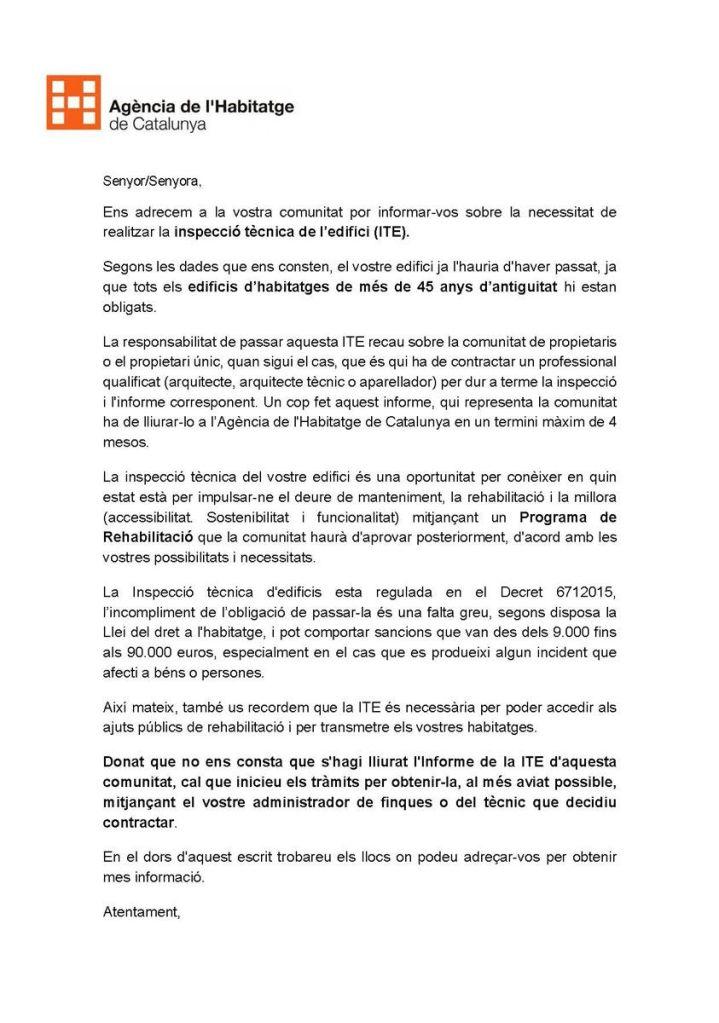Carta ITE Agència Habitatge