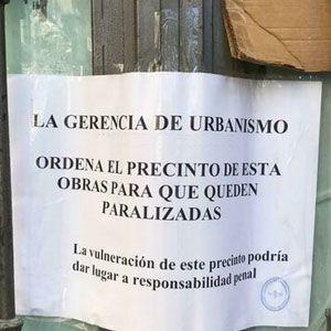 Paralización de las obras por no tener licencia de obras