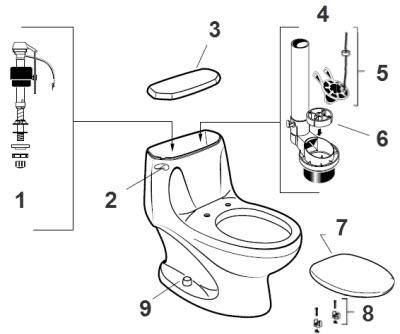 American Standard 2095.012 / 2097.014 Savona Toilet Parts