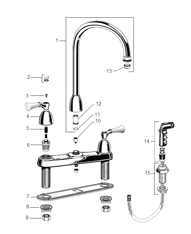kitchen faucet with handspray island portable order replacement parts for american standard 4271 ...