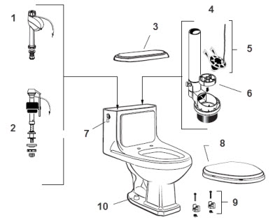 American Standard 2038.016 Antiquity 1.6 gpf Toilet Parts