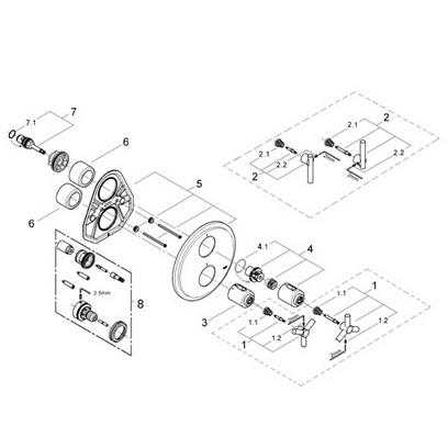 Grohe 19167 Atrio Integrated thermostat trim Part Catalog