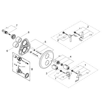 Grohe 19168 Atrio Integrated thermostat trim Part Catalog