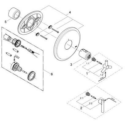 Grohe 19170 Atrio Thermostat trim Part Catalog