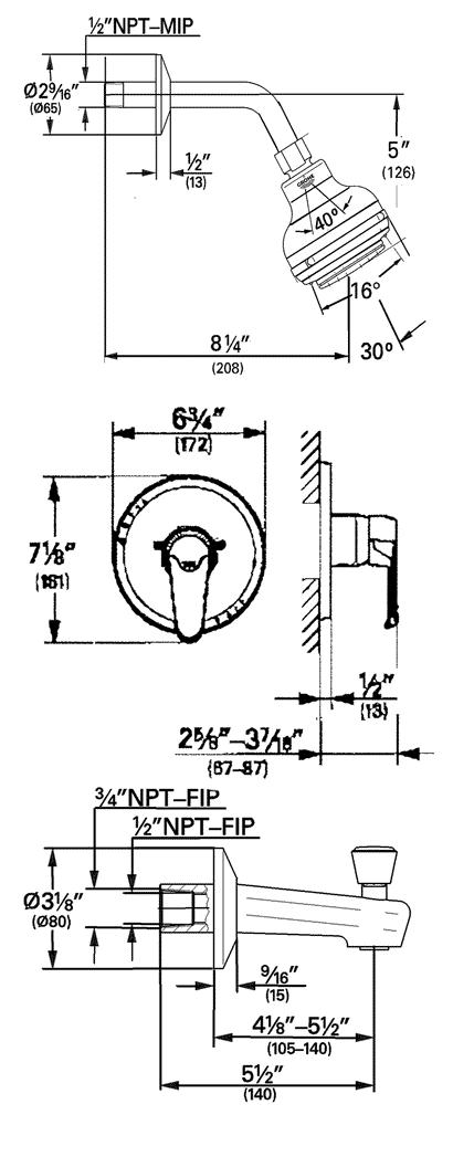 Order Replacement Parts for Grohe 35225 Eurowing; Shower
