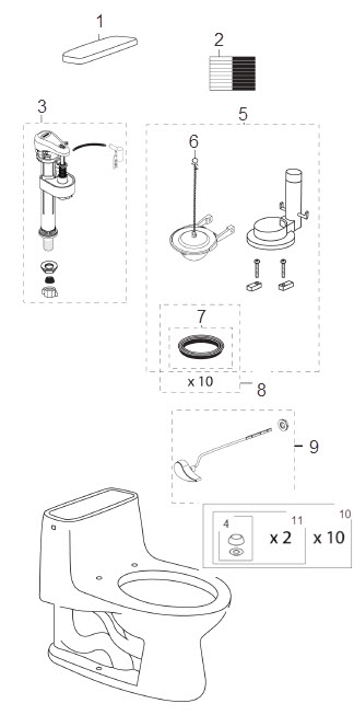 Order Replacement Parts for Toto MS853113S; Eco Ultramax